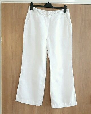 Ladies M&s Per Una Linen  Trousers Size 12 Short
