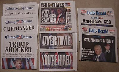 Donald Trump Election Win 8-Newspaper Chicago Set Includes 2 Rare Late Editions!