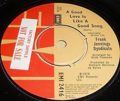"""Frank Jennings Syndicate A Good Love Is Like A Good Song/song & Dance Vinyl7""""sge"""
