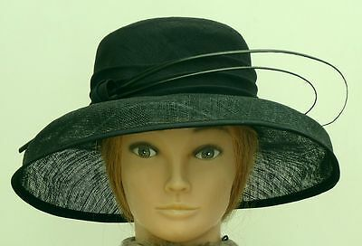 BEAUTIFUL M & S BLACK SPECIAL OCCASION BRIMMED HAT WITH QUILLS, Ex Cond