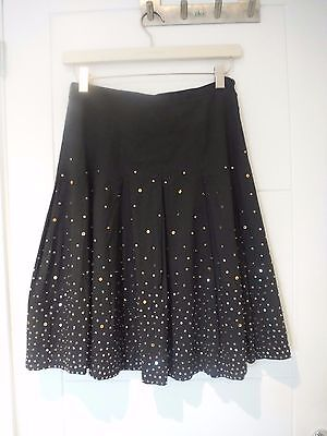 Fever black flared cotton skirt, beads & sequins, fully lined, 10 - sparkle :)