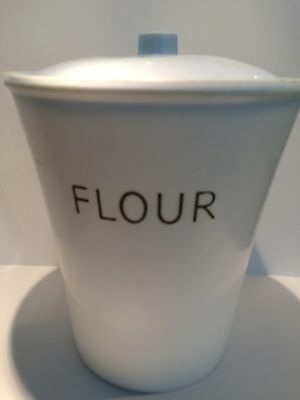 Vintage 1960s Laricol Large Blue and White Flour Storage Jar - Made in England
