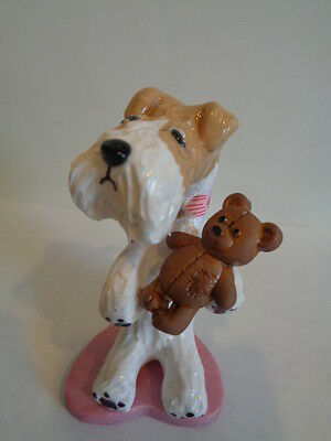"Hand Sculpted~Wire Fox Terrier Holding Cute ""brown Teddy Bear"" Figurine"