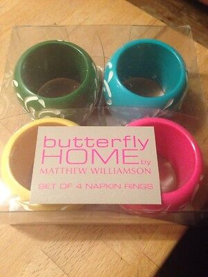 Napkin Rings butterfly Home By Matthew Williamson Festive table New In box