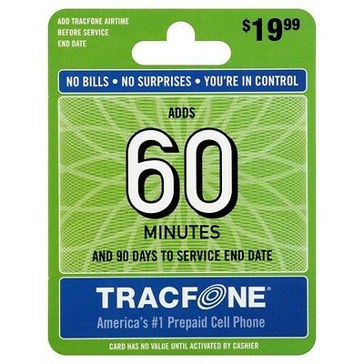 TRACFONE $19.99 Refill 90 Days 60 Minutes. Ultra Fast Reload Directly to Phone