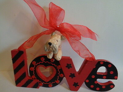 """Hand Sculpted~Wheaten Terrier Red """"love"""" Hanging Wood Sign Decoration~Ooak"""