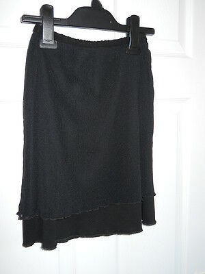 Ladies Black Stretchy Double Layer Elastic Waist Mini Skirt Size 8-10 by DKNY