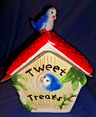 "TWEET TREATS BLUE BIRD HOUSE COOKIE JAR WITH LID 10"" TALL x 8"" WIDE"