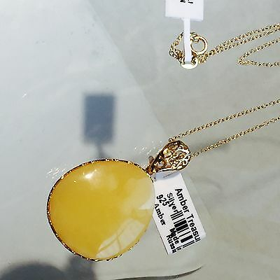 100 Natural Russia Antique Necklace Butterscotch Egg Yolk Baltic Amber Pendant