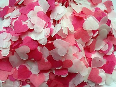 1500 Biodegradable Tissue Paper Heart Confetti PINK IVORY Wedding Party Romantic