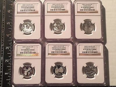 2009-S SIX-COIN SET SILVER QUARTERS 25c D.C. & TERRORITIES NGC PF70 ULTRA CAMEO