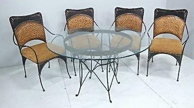 Glass Top Dinnette Dining Set Round Table 4 Chairs Iron Wicker Patio Garden