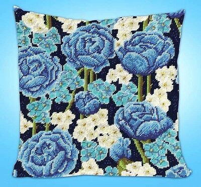"""Design Works Needlepoint Kit 12"""" x 12"""" ~ BLUE ROSES Pillow or Picture #2620 Sale"""