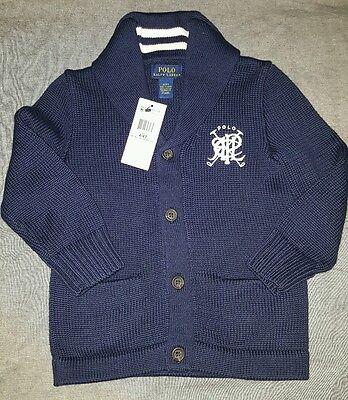 NEW $70 Polo Ralph LAUREN boys Cotton Cardigan Sweater Pullover Navy size 4T w/t
