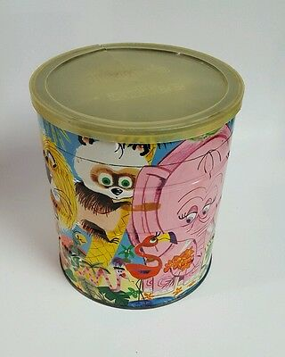 Vintage Folger's Coffee Can - Happy Jungle Scene- Flamingo, Elephant