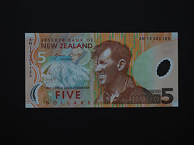 New Zealand Banknotes $5 Polymer 1St Issue Hillary Note  * Superb Mint Unc *