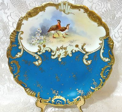 Limoges Coiffe France Handpainted BLUE Cabinet Plate + LS&S Mark - SIGNED Baik