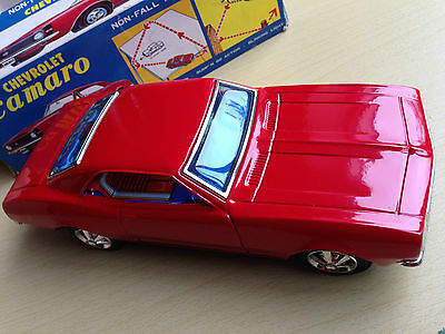 Vintage Tinplate Battery Operated Taiyo Chevrolet Camaro Toy Car - Made In Japan