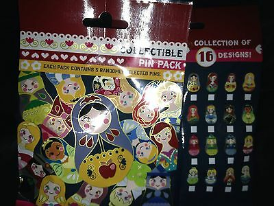 Disney New Small Nesting Dolls Collectible 5 Pin Mystery Pack Authentic Sealed