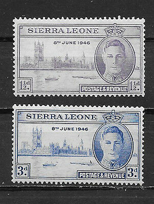 Sierra Leone , Peace Issue ,1946, George Vi , Set Of 2 , H