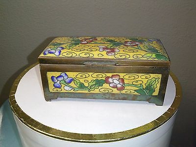 Vintage Chinese Cloisonne Brass Enamel Stamp Box - Flowers 2 Compartments
