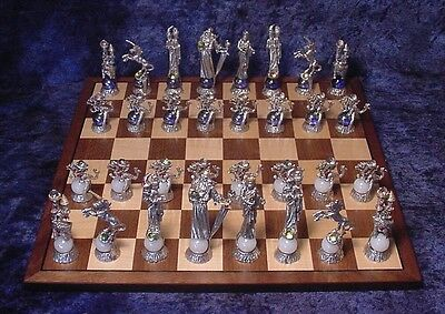 Pewter Medieval Fantasy Chess Set w/ Board & Colorful Red & Blue Crystals