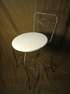 Vintage Metal Wire Vanity Bench Chair Stool Mid Century Modern Gold Tone Atomic