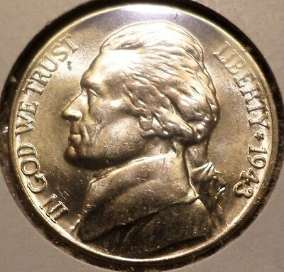 BU 1943-D Jefferson Nickel Uncirculated Wartime Silver --With Full Steps!--
