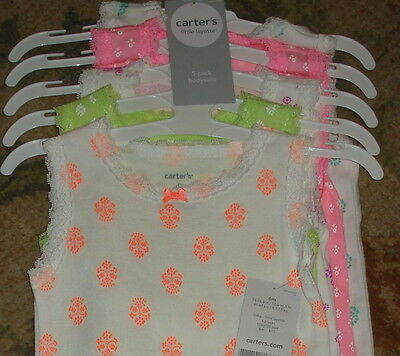 New Carters Little Layette Lot 5-pack Baby Girl's Bodysuit  6 Months 6M