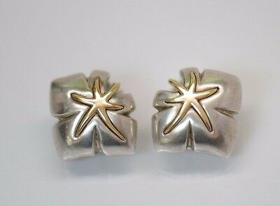 Tiffany & Co 18K Gold And Sterling Silver Ivy Starfish Clip On Earrings ANTIQUE