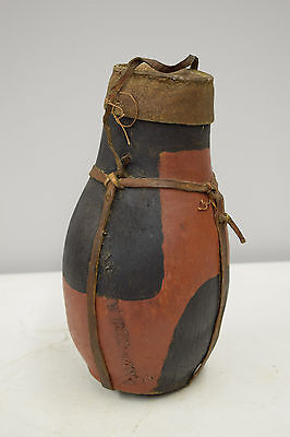 African Turkana Old Milk Container Wood Leather Hide Shells Wood Storage