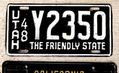 """1948 White on Black Utah """"The Friendly State"""" License Plate in Nice Shape"""