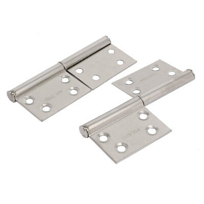 98mm Length 304 Stainless Steel Two Leaves Door Flag Hinges Silver Tone 2pcs