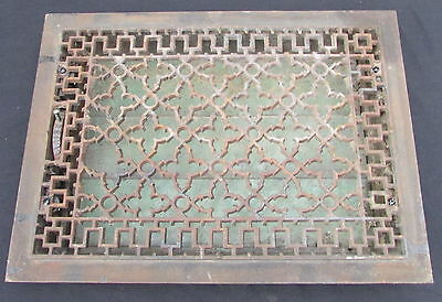 "HUGE VICTORIAN ERA  CAST IRON 14"" x 19"" HEATING REGISTER WITH WORKING LOUVERS"