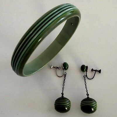 Art Deco Celluloid Bangle and Screw Back Earring Set Green Lines Stripes
