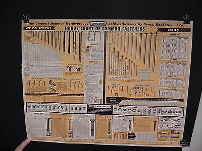 Never Used 1959 Craftsman Handy Chart Of Common Fasteners - Reference Wall Chart