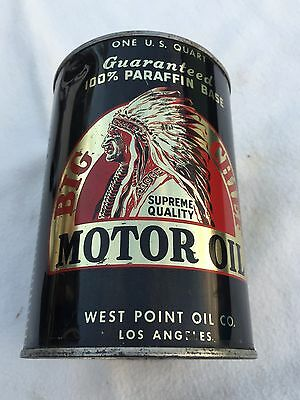 RARE Indian Chief Motor Oil Can Full