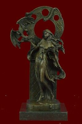 Bronze Sculpture Statue SALE Jean Patoue Maiden Of The Dragon'S Axe Deal Figure