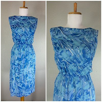 VINTAGE 1960s BLUE WHITE SACONY WATERCOLOR DAY DRESS S