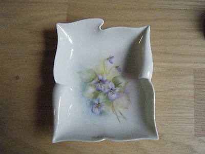 Antique Porcelain Unusual Hand Painted Dish, Wall Plaque, Signed