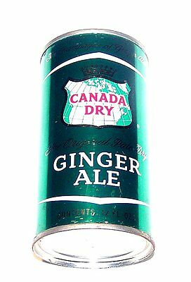 Full Canada Dry Ginger Ale Pre Zip Flat Top Soda Can A1+ Cone Beer Tab NoRskOfr