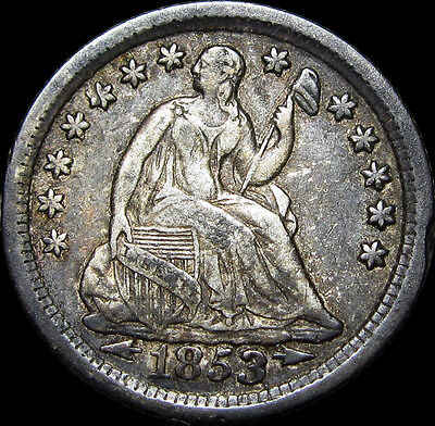 1853-O Seated Liberty Half Dime ---- STUNNING TYPE COIN ---- #D320