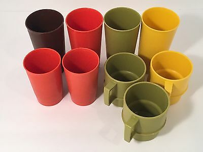 Vintage Lot of 9 Harvest Tupperware Stacking Plastic Cups Tumblers Coffee Mugs