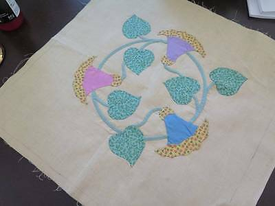 Vtg 1930's Lg Cheery Morning Glory Applique Cotton Quilt Block Hand Sewn