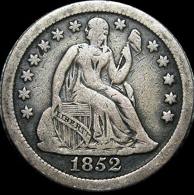 1852 Seated Liberty Dime ---- STUNNING TYPE COIN ---- #D325