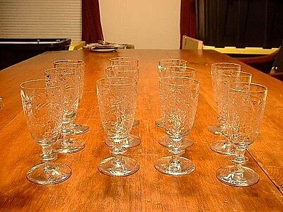12 Libbey Rock Sharpe Paisley Floral Cut Wine Stems