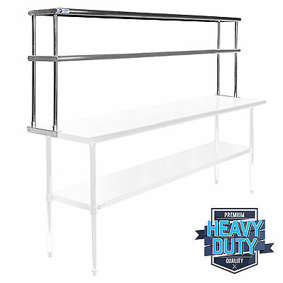 """Stainless Steel Commercial Kitchen Prep Table Wide Double Overshelf - 12"""" x 72"""""""