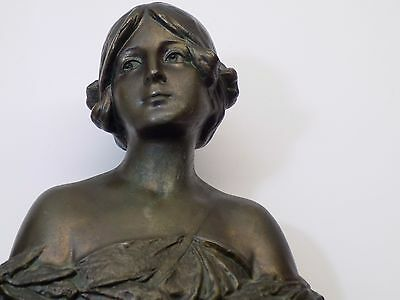 Antique Art Nouveau Beautiful Lady Figure Spelter Cast Metal Bust Sculpture