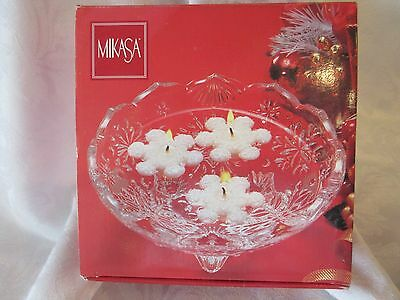 Mikasa Glass Crystal Footed Snowflake Floating Candle/Candy Dish EUC