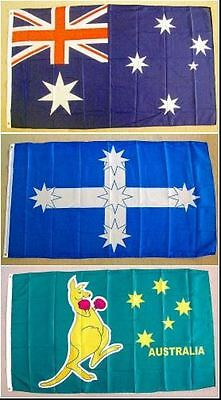 Set of 3 Flags - Australian, Southern Cross and Boxing Kangaroo - 150mm x 90mm.